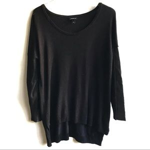 Torrid Vegan Leather Sleeve Sweater Black 0 0X XL